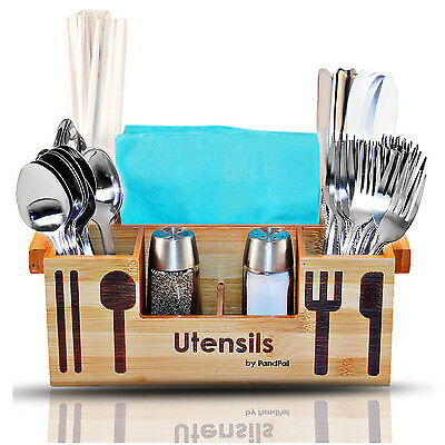 Bamboo Wooden Utensil Caddy Flatware Holder Silverware Organizer Home Restaurant