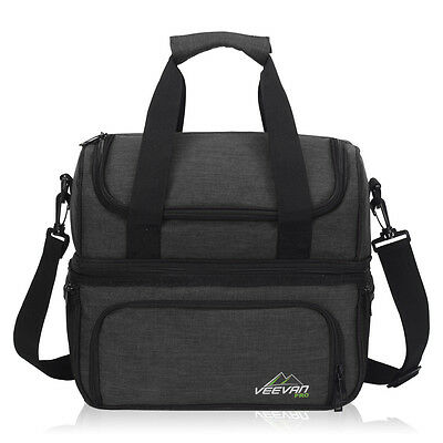 Expandable 2-layers Insulated Lunch Bag Thermal Cooler Box With Adjustable Strap