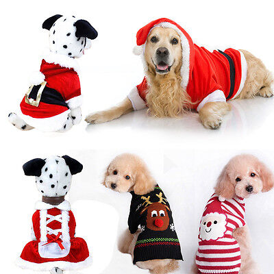 Christmas Dog Warm Clothes Pet Costume Dress Puppy Jumper Sweater Cat Knit UK