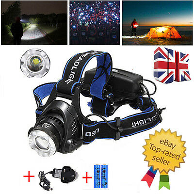 2000LM CREE XML T6 LED Light Headlamp 3 Modes Focus Rechargeable Torch Headlight