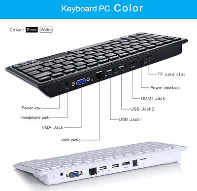 PROMOTION Xmas Bluetooth All in One Keyboard PC Mini Win10 Quad Core 2G+32G WiFi