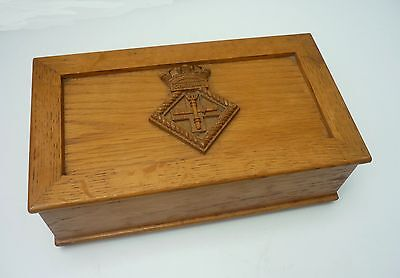 Vintage OAK CIGARETTE BOX with CHATHAM coat of arms