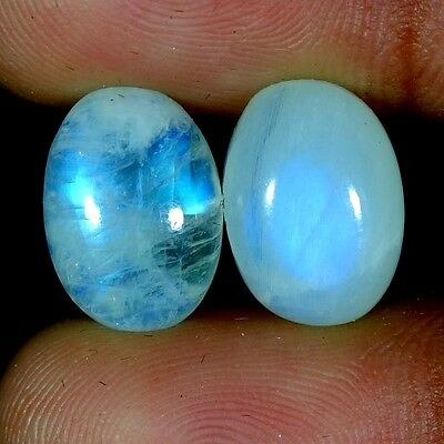 13.25Cts. 10X14MM 100% NATURAL RAINBOW MOONSTONE OVAL CABOCHON PAIR GEMSTONES