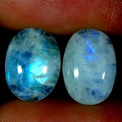 11.85Cts. 10X14MM 100% NATURAL RAINBOW MOONSTONE OVAL CABOCHON PAIR GEMSTONES
