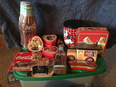 Coca Cola Tins Coasters Lot of 13 + Two Die Cast Cars And Blak Bottle