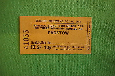 British Railways car park ticket for Padstow,Cornwall