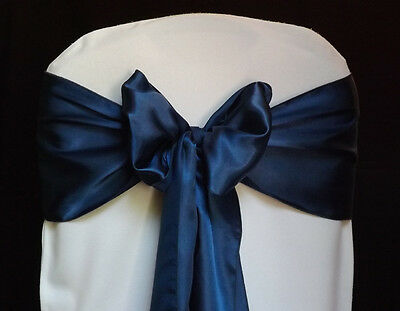 100 Satin Navy Blue Chair Covers Sash Bows sashes Wedding Decoration Party