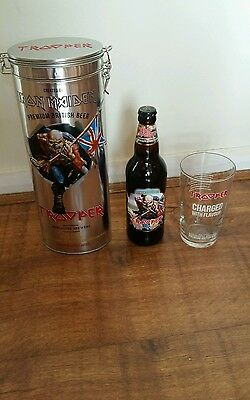 Iron Maiden Trooper Beer GLASS UK Exclusive Limited Edition NEW Tin