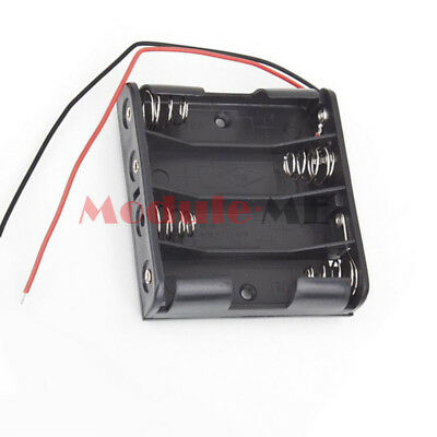 New 4 X AA 6.0V 4AA Plastic Battery Case Storage Box Holder with Wire Leads D