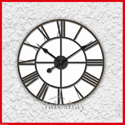 Huge Wrought Iron Roman Numerals Wall Clock 80cm Large