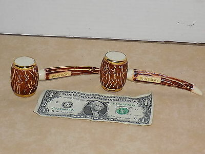 Vintage RETRO Salt and Pepper Shakers Plastic Smoking Pipes KENTUCKY