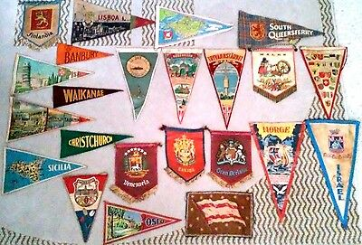 22 Vintage Banners Flags Pennants from Countries around the World