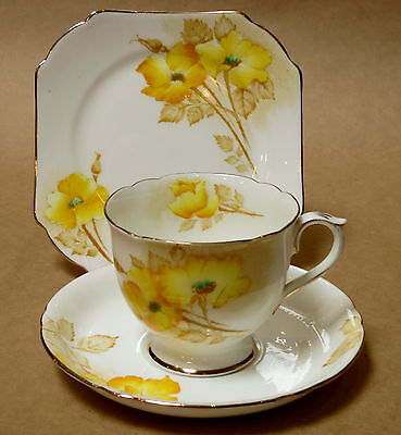 Vintage Shelley Yellow Dog Roses Trio Cup Saucer Plate