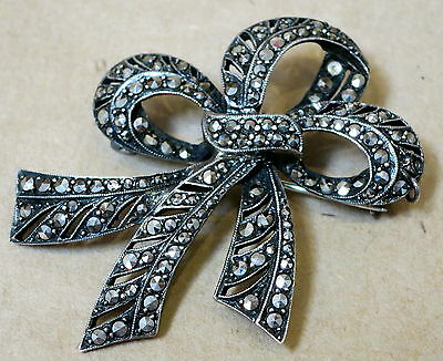 Beautiful Antique Marcasite Sterling Silver Large Bow Brooch
