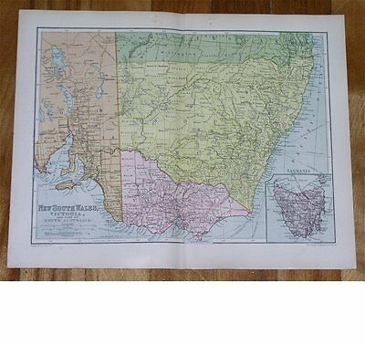 1912 Antique Map Of New South Wales Victoria / Melbourne Sydney / Australia