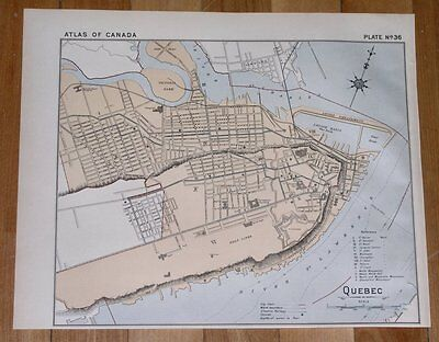 1906 Antique City Map Of Quebec City / Canada