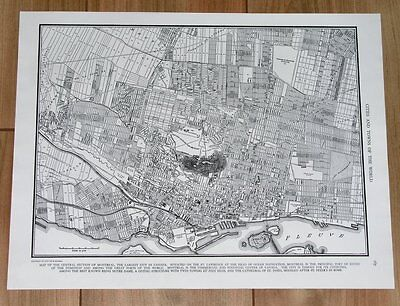 1949 Vintage City Map Of Montreal / Quebec / Canada