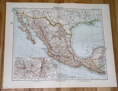 1908 Original Antique Map Of Mexico / Texas