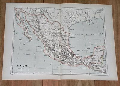 1887 Original Antique Map Of Mexico