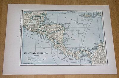 1934 Map Of Central America Panama Costa Rica Nicaragua Mexico On Reverse Side