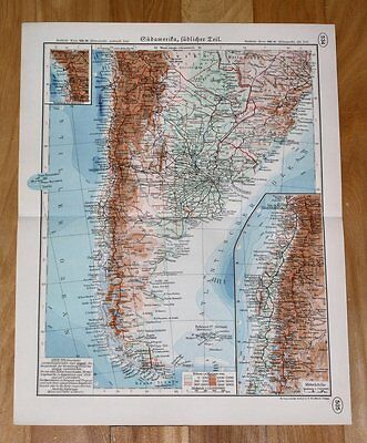 1937 Map Of Argentina Chile Falklands / South America