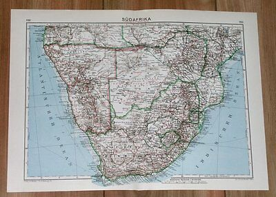 1932 Original Vintage Map Of South Africa / Rhodesia Namibia / Togo Cameroon