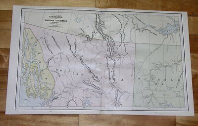 1890 Map Of Northern Part Of British Columbia Yukon Alaska Panhandle Canada