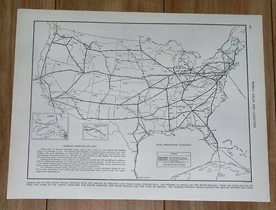 1941 Vintage Map Of United States / Airways Air Lines