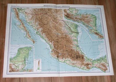 1922 Original Vintage Map Of Mexico