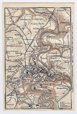 1911 Original Antique Map Of Vicinity Of Fribourg / Switzerland