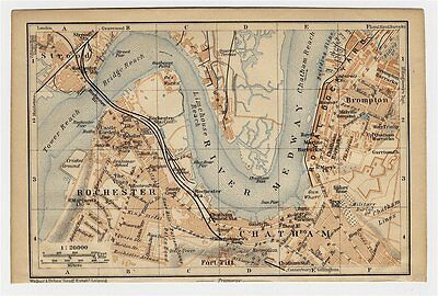 1906 Antique City Map Of Rochester / Chatham / Medway / England