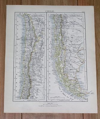 1906 Original Vintage Map Of Chile And Argentina / South America