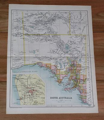 1909 Antique Map Of South Australia / Adelaide Inset Map