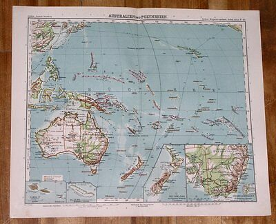 1911 Map Of Oceania / Australia German Colonies Samoa New Guinea / Pacific