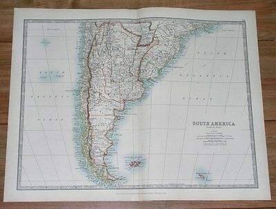 1913 Map Of Argentina Chile Falklands / South America