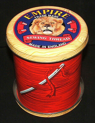 Vintage Red Empire Pure Cotton Sewing Thread Tin by the Silver Crane Tin Company