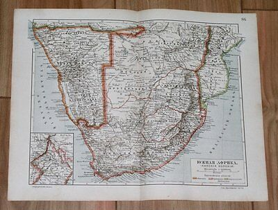 1905 Rare Russian Map Of South Africa Cape Orange River Transvaal Colony Namibia