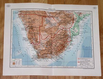 1937 Map Of South Africa Transvaal / Botswana Rhodesia Namibia