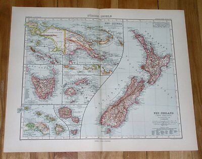 1908 Antique Map Of New Zealand German New Guinea Hawaii Pacific Islands