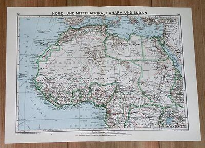 1932 Original Vintage Map Of Northern / Western Africa Egypt Sahara Morocco