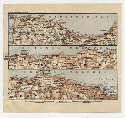 1906 Antique Map Of Northern Shore Of Devon / England
