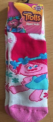 Bn Girls Trolls Slipper Socks Size 9-11, Free Postage