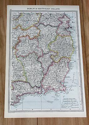 1908 Antique Map Of Dublin Wicklow Wexford Waterford Kilkenny Kildare / Ireland