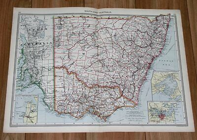 1908 Antique Map Of New South Wales Victoria Melbourne Sydney Adelaide Australia