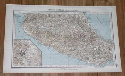 1927 Rare Vintage Italian Map Of Central Mexico / Mexico City Inset Map