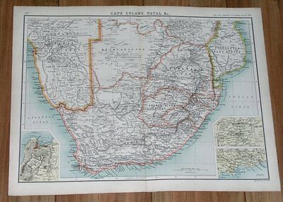 1903 Original Antique Map Of South Africa / Cape Colony Transvaal Orange River