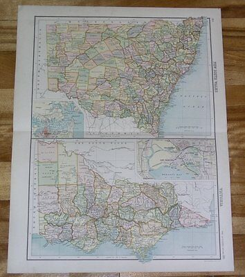 1900 Double Map Of New South Wales Victoria Australia