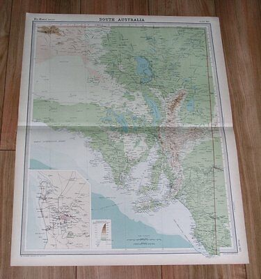 1922 Original Map Of South Australia / City Of Adelaide Inset Map