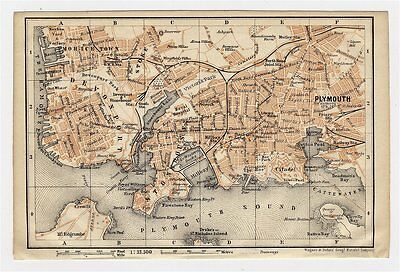 1906 Antique City Map Of Plymouth / Devon / England