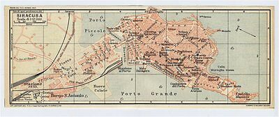 1930 Miniature Vintage City Map Syracuse Siracusa Sicily Italy W. Street Index